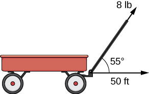 """This figure is an image of a wagon with a handle. The handle is represented with a vector labeled """"8 lb."""" There is another vector in the horizontal direction from the wagon labeled """"50 ft."""" The angle between these vectors is 55 degrees."""