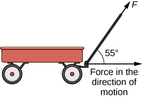 """This figure is the image of a wagon with a handle. The handle is represented by the vector """"F."""" The angle between F and the horizontal direction of the wagon is 55 degrees."""