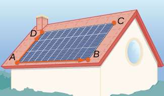 "This figure shows a rectangular set of solar panels on a roof. The corners are labeled ""A, B, C, D."" Also there is a vector drawn from A to D. There is another vector along the bottom of the rectangle from A to B."